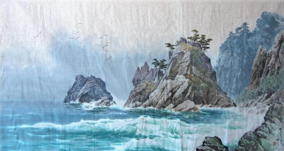 朝鲜美术作品山水画,花鸟画40幅 (1)
